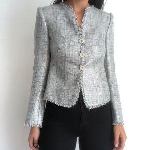 Armani Collezioni metallic tweed blazer jacket